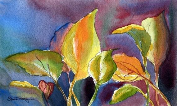 Hosta Leaves, Set of 4 Watercolor Prints