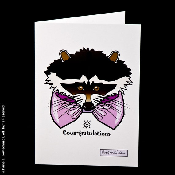 Set of Three Blank Congratulations Raccoon Greeting Cards