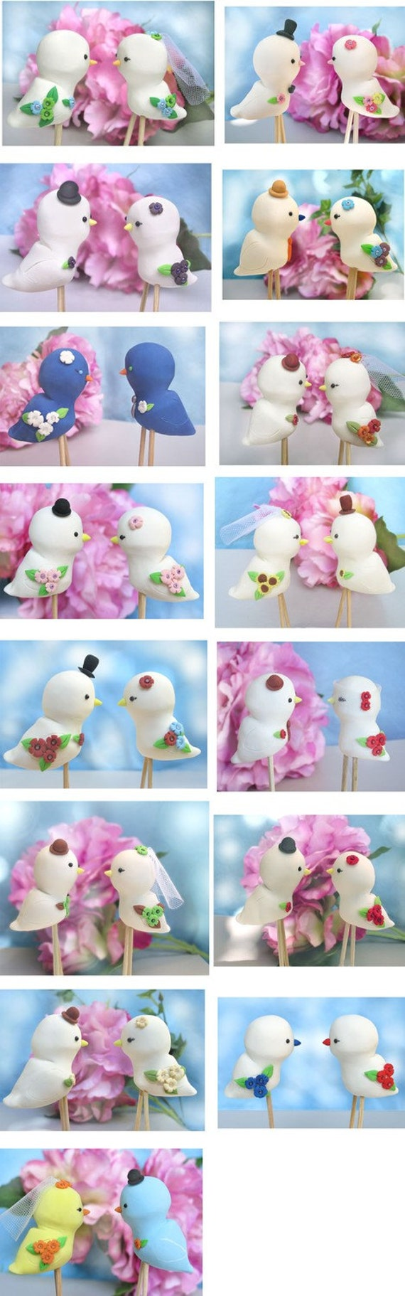 Unique Love birds wedding cake toppers - Promo price -Personalized details and colors