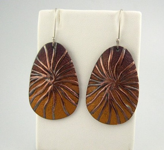 Polymer and Copper Earrings, Woven Threads