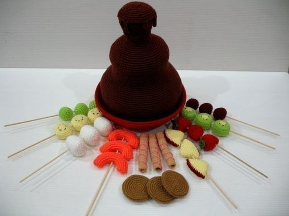 Crochet Pattern - CHOCOLATE FONDUE FOUNTAIN- Toys / Playfood - PDF