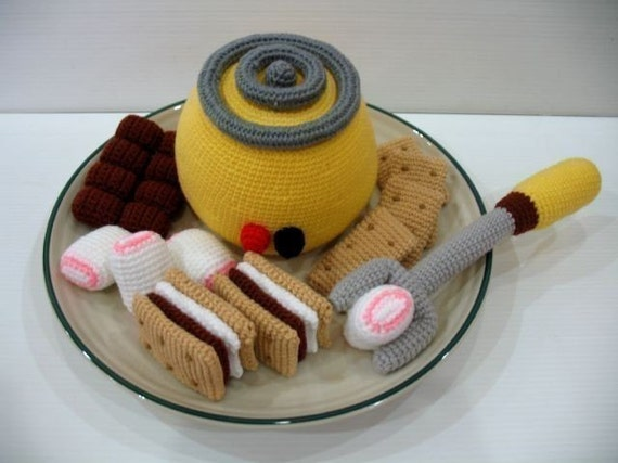 Crochet Pattern - SMORES and KIT- Toys / Playfood - PDF