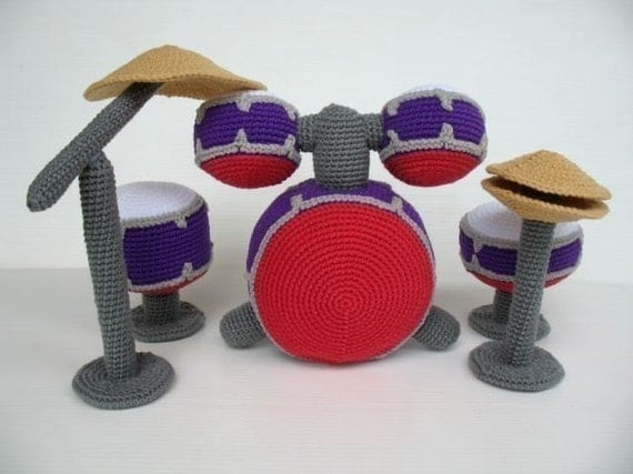 Crochet Pattern - DRUM SET - Toys - PDF