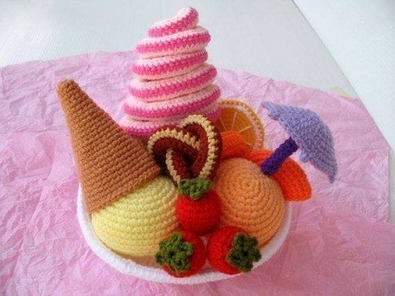 Crochet Pattern - FRUITY ICE CREAM - Play food