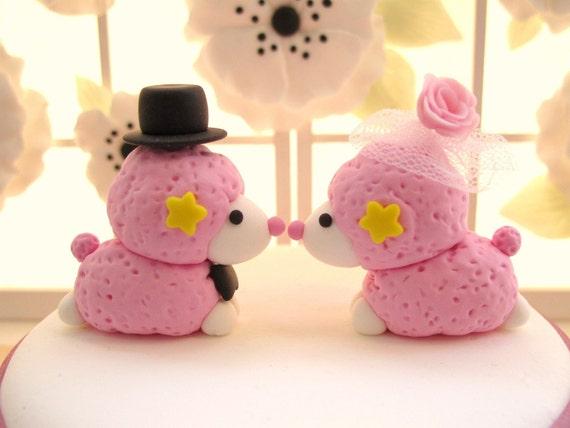PROMOTION-------Custom Wedding Cake Topper -Handmade lovely Kiss Poodle