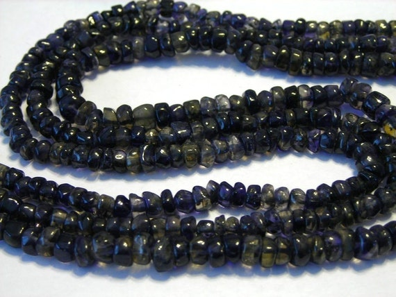 Iolite heishi gemstone Very Dark blue WHOLE STRAND