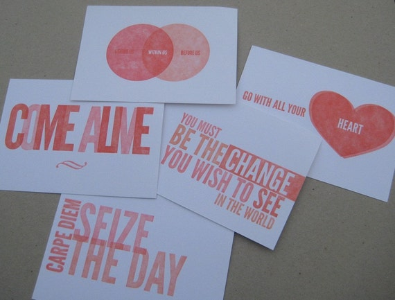 Letterpress Postcards - Set of 5