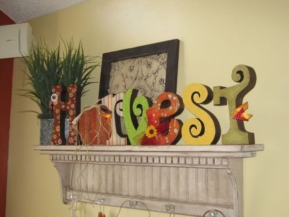 Harvest Letters Pumpkin Glitter Decoupage Autumn Fall