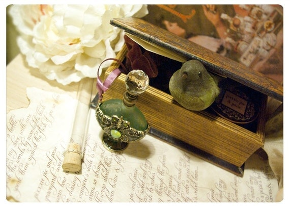 the bellatrix box - number 3 - natural perfume oil and bath salts in faux leather book style treasure box