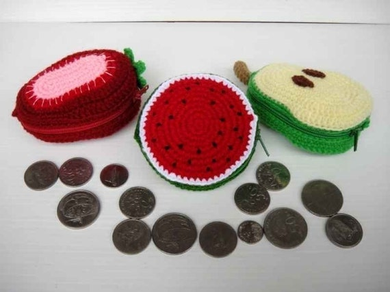 Crochet Pattern - FRUIT PURSE 2 - Watermelon, Strawberry and Pear - PDF