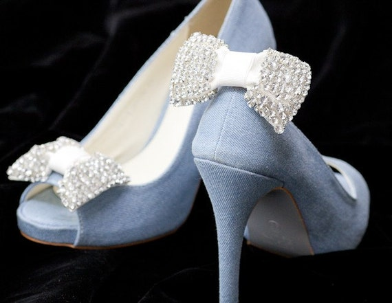 Crystal Rhinestone White Bow Shoe clips-Wedding shoes,party,Bride shoe clip
