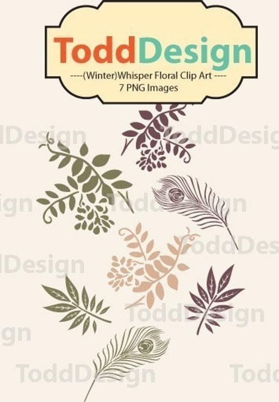 Winter Whisper Floral Digital Clip Art for wedding invitations