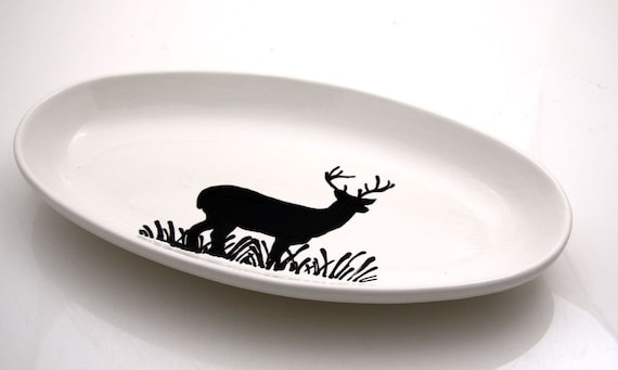 Reindeer Oval Serving Platter Holiday Tabletop Hand Painted
