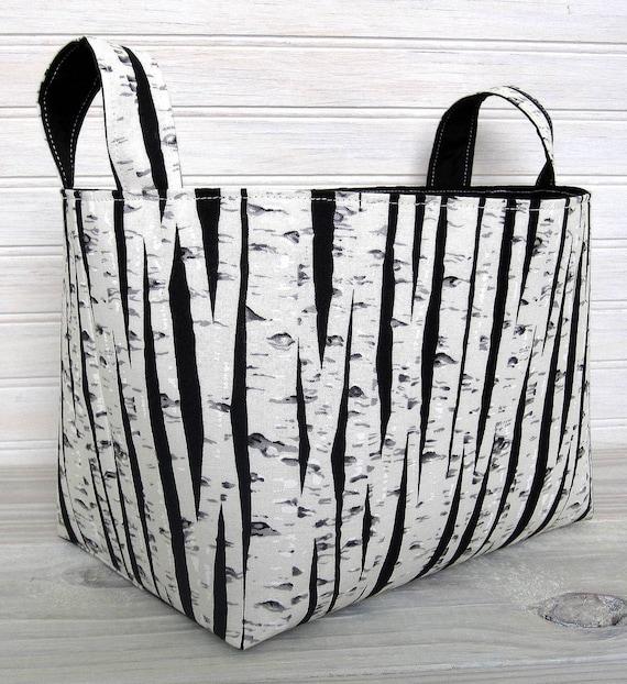 Organizer Basket Fabric Bin - Birch Trees