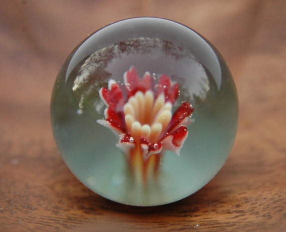 Blown Glass Marble Red Flower