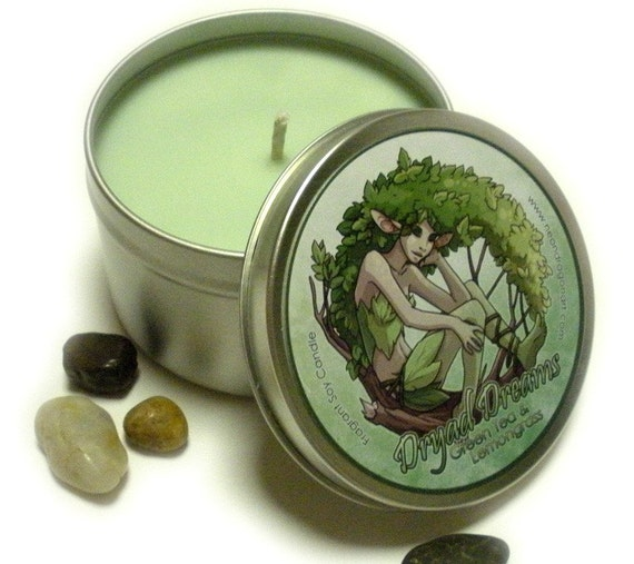 Green Tea and Lemongrass - Dryad Dreams - 8 oz Candle Tin