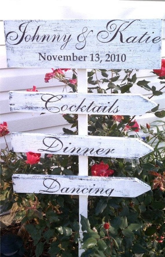 Wedding Sign PERSONALIZED 4 sign Bridal Package YOU PICK COLORS and WEDDING THEME PLEASE VISIT MY SHOP FOR OVER 40 WEDDING SIGNS