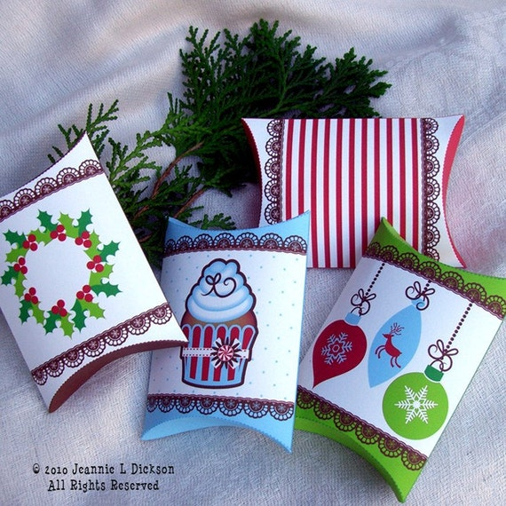 Christmas Printable Gift Pouch 4 different designs  by HoneyBops from etsy.com
