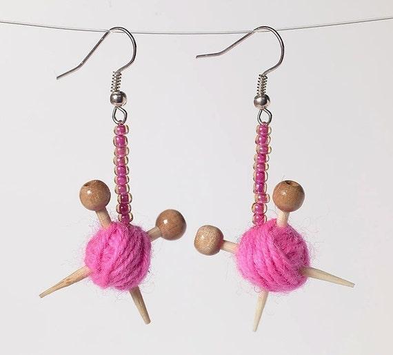 Розовый уха Вязаные изделия - серьги Пряжа мяч