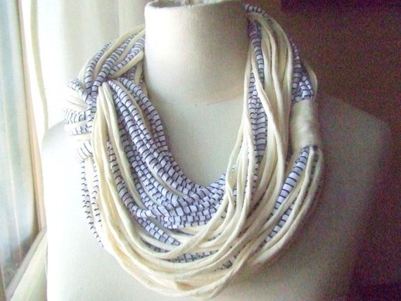 Necklace/scarf, AFRICAN DREAM  -   cotton strips  in ivory and striped white, black and gray colors.