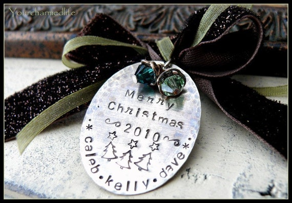Hand stamped personalized custom names sterling silver CHRISTMAS ORNAMENT