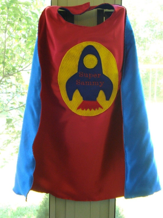 Custom Embroidered Rocket Superhero Cape