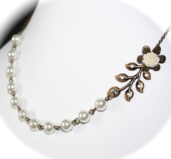 Vintage Style Leaf Branch Flower Pearl Necklace by smilesophie