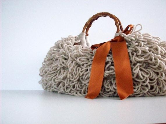 دستباف NzLbags -- هر روز کیسه ای -- Knitted کیف دستی پشمالو بژ Nr -- 0104
