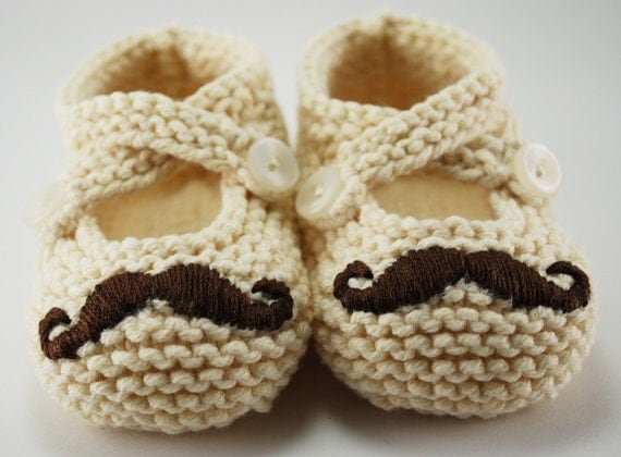 Mr. Mustache Cream Baby Booties