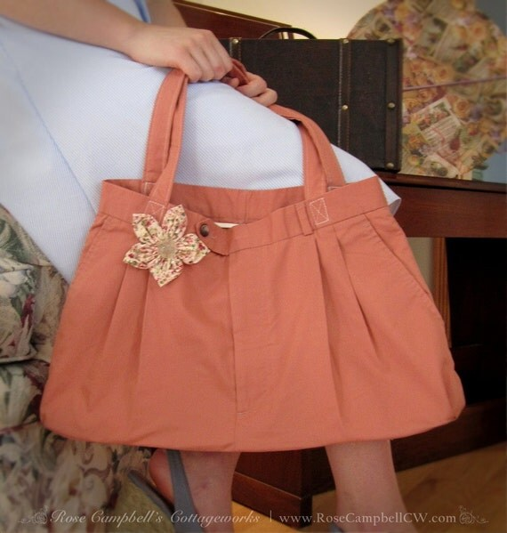 Jessica tote bag in pale salmon with pink floral posy