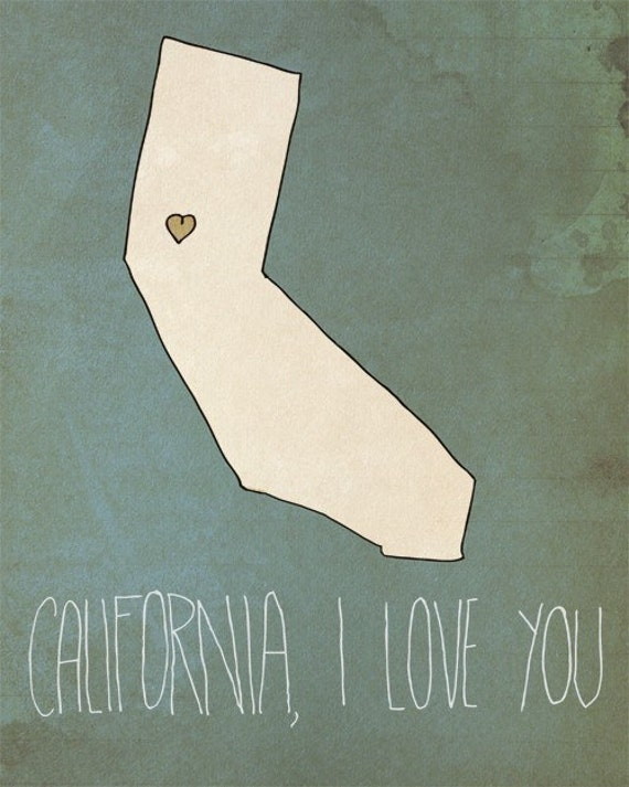 I Heart California - 8 x 10 - Illustration Print