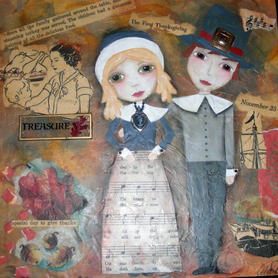 THANKSGIVING PILGRIMS (Original) Mixed Media Painting by Alicia