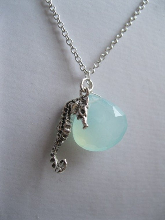 Beautiful Sterling Seahorse and Chalcedony Necklace