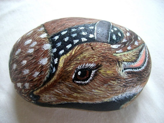 Sweet Fawn-  3D Handpainted rock deer, Gift for pet lover under 50