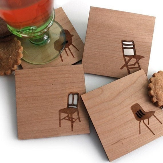Modern and Retro Chair Wood Coasters