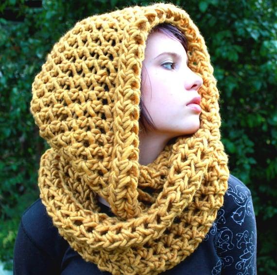 پشم گردن راهب هود روسری رنگ کهربایی زرد گرمتر