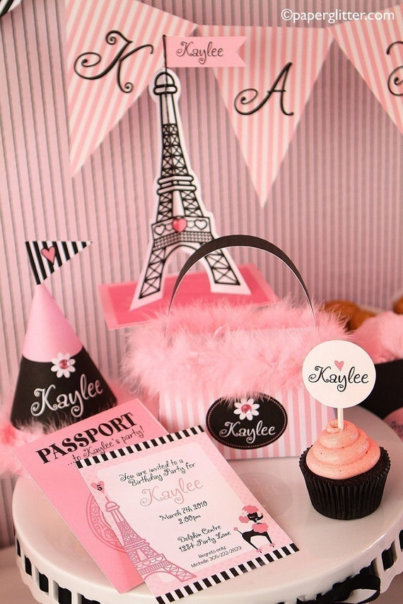 0022 BIRTHDAY Paris DELUXE PERSONALIZED Party Kit-Printable pdf Complete Set