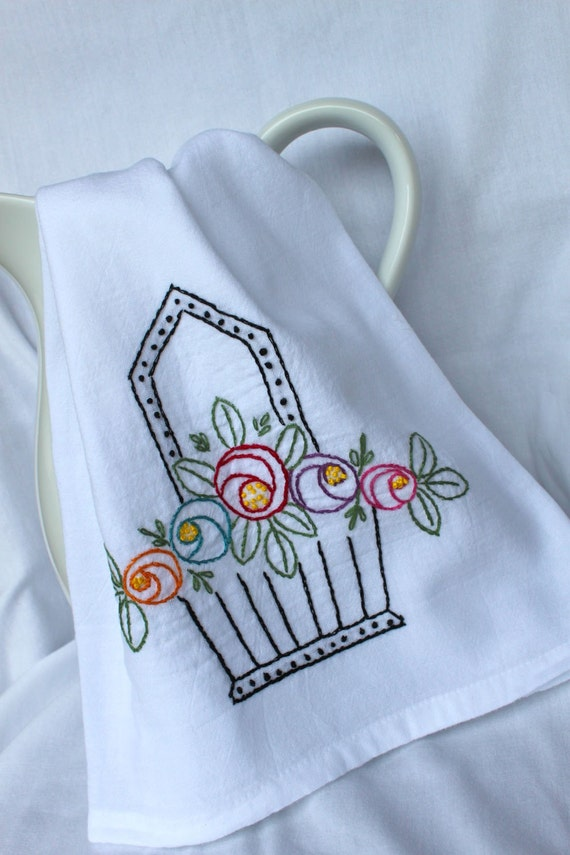 Hopebasket Tea Towel - Hand Embroidered