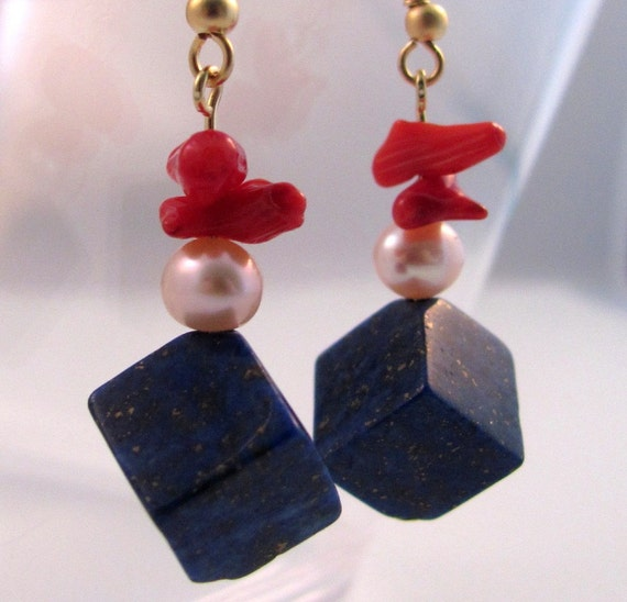 Lapis and Red Bamboo Coral earrings