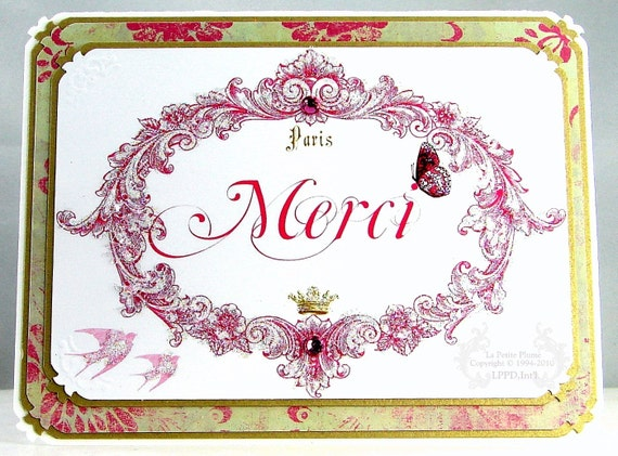 Merci, French Inspired Note Card, Set of Six, Gold Pearl Finished Envelopes Included.