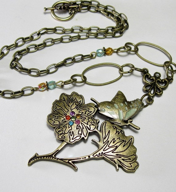 Antiqued Brass Butterfly Floral Necklace