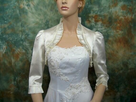 Ivory 3/4 sleeve satin wedding bolero jacket shrug