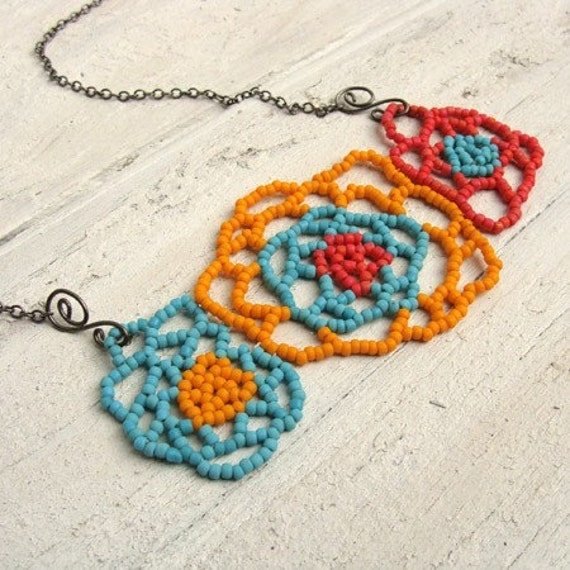 Fiesta Flowers Beadwoven Necklace