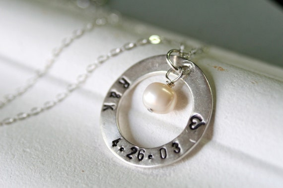 Just Married - Sterling Silver and Freshwater Pearl Personalized Handstamped Necklace