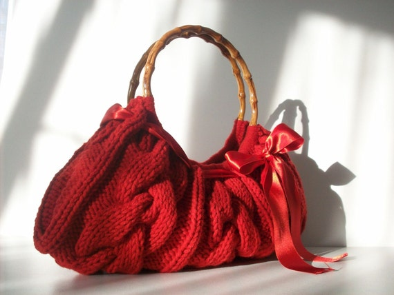 دستباف NzLbags -- کیف دستی -- شانه کیسه ای -- هر روز بگ قرمز Knitted Nr -- 0107
