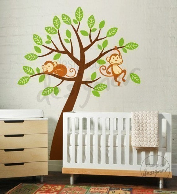 2 Monkeys with Tree EXTRA LARGE OVER CRIB - dd1046 - Kids Vinyl Wall Sticker Decal Art