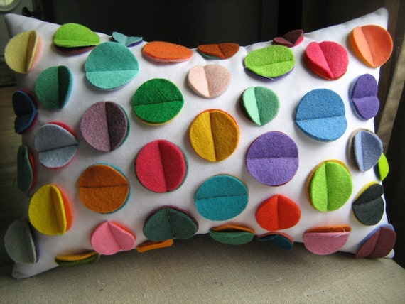 Multi- Color Rainbow Felt Disc Pillow