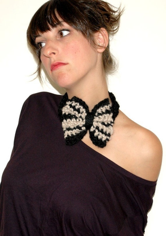 Большая головная повязка из лука в Черном и белье Stripes