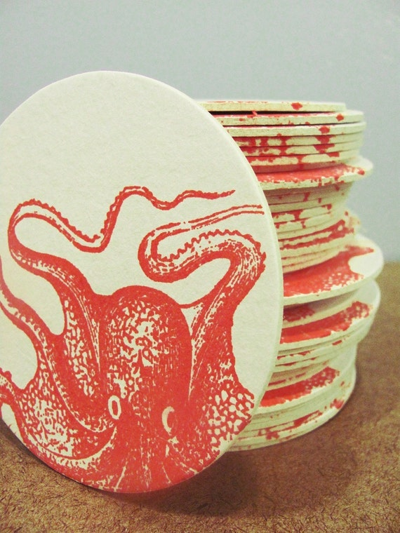 4 crazy orange Gocco screenprinted octopus coasters