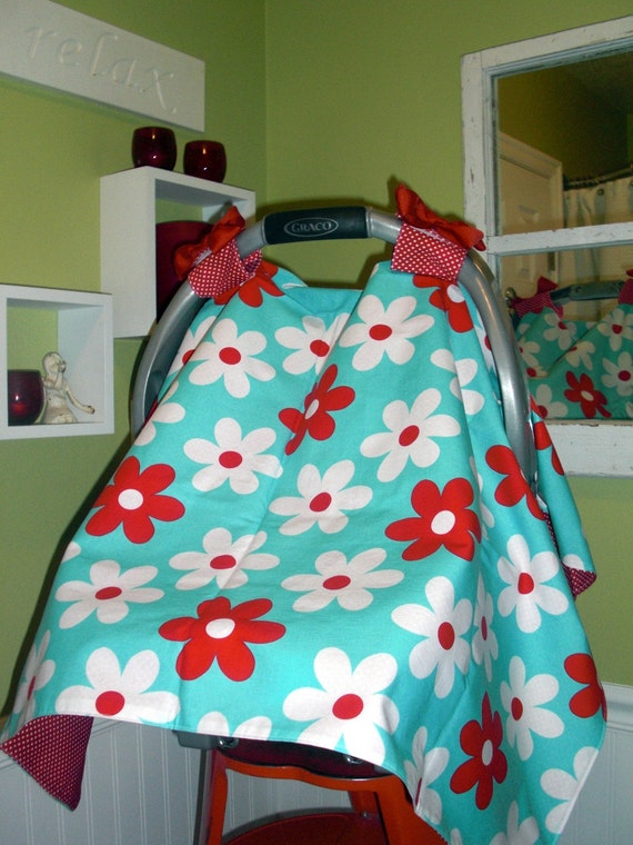 Car Seat Canopy in Turquoise and  Reds